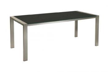 Bony-Design-Esstisch-Edelstahl-mit-schwarzem-Glas-75-×-196-×-90-0