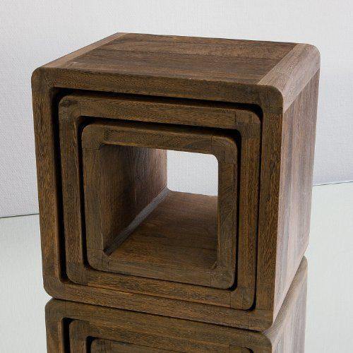 Neg tisch set vinuja dunkelbraun 3 tlg nachttisch for Beistelltisch echtholz