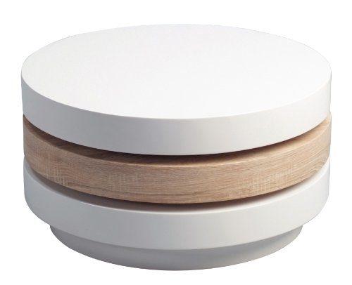 HomeTrends4You-224742-Couchtisch-Höhe-31-cm-Durchmesser-60-cm-Dekor-Sonoma-eiche-weiß-Hochglanz-0