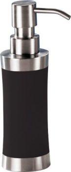Seifenspender-250-ml-Edelstahl-schwarz-gummiert-Soft-Touch-Pumpspender-0
