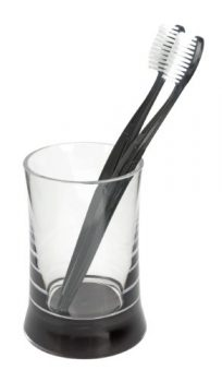 Wenko-19694100-Zahnputzbecher-Rosano-klar-schwarz-0