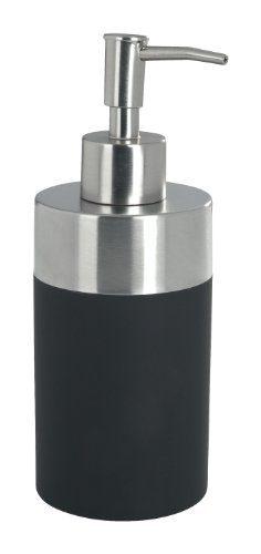 Wenko-19977100-Seifenspender-Creta-Soft-Touch-Kunststoffsatinierter-rostfreier-Edelstahl-270-ml-8.2-x-18-x-7-cm-schwarz-0