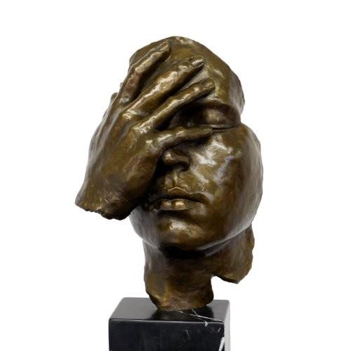 Abstrakte-Bronzefigur-Resignation-Hommage-an-Salvador-Dali-signiert-0
