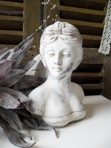 Büste Frauenbüste Skulptur Damenbüste Figur Dekoration Landhaus Shabby Chic