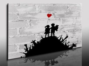 Banksy-Bild-100x70cm-k.-Poster-Bild-fertig-auf-Keilrahmen-Pop-Art-Gemälde-Kunstdrucke-Wandbilder-Bilder-zur-Dekoration-Deko-Top-100-Banksy-Modern-Bilder-0