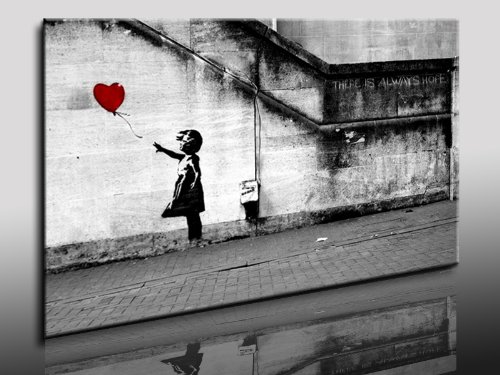 banksy streetart graffiti leinwand bild 100x70cm. Black Bedroom Furniture Sets. Home Design Ideas