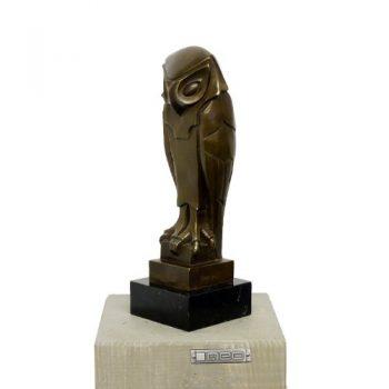 Bronzefigur-Abstrakte-Tierfigur-aus-Bronze-Eule-signiert-Umberto-Boccioni-0