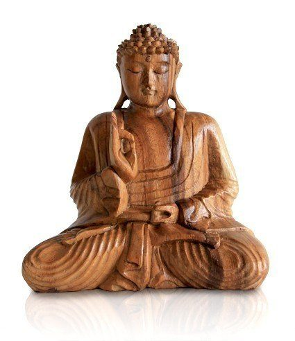 buddha holzfigur statue amoghasiddhi sitzend figur aus holz h he 20 cm gro asiatische. Black Bedroom Furniture Sets. Home Design Ideas