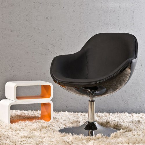 cag design retro lounge sessel kopenhagen schwarz drehbar online kaufen bei woonio. Black Bedroom Furniture Sets. Home Design Ideas