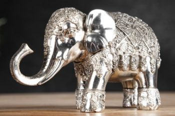 Design-Skulptur-ELEPHANT-15cm-silber-Figur-Deko-Accessoire-Statue-0
