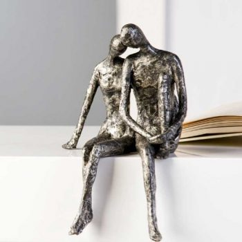 Designer-Figur-Skulptur-Kantensitzer-Couple-in-Antik-Silber-25-x-18-H-x-B-0
