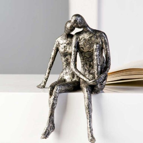 Designer-Figur-Skulptur-Kantensitzer-Couple-in-Antik-Silber-25-x-18-H-x-B-0