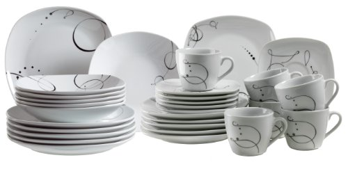 domestic chanson 921344 30 piece combi set with 6 x cups saucers dessert plates soup plates. Black Bedroom Furniture Sets. Home Design Ideas