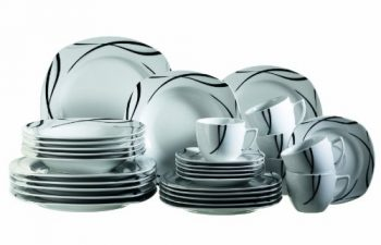 Domestic-®-by-Mäser-Serie-Oslo-Starter-Kombiservice-30-teilig-je-6-Tassen-mit-Untertassen-sowie-DesserttellerTeller-tief-und-Teller-flach-formschönes-Porzellan-mit-dezentem-Dekor-0