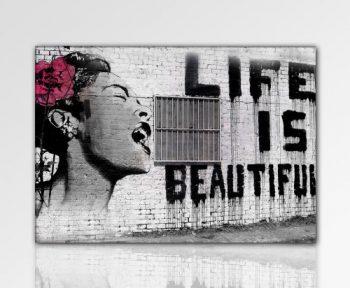 Druck-auf-leinwand-Banksy-Graffiti-Bild-100x70cm-k.-Poster-Bild-fertig-auf-Keilrahmen-Pop-Art-Gemälde-Kunstdrucke-Wandbilder-Bilder-zur-Dekoration-Deko-Top-200-Banksy-Streetart-Wandbilder-0