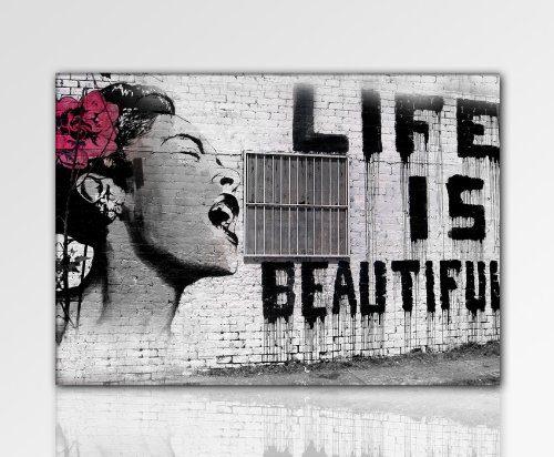 druck auf leinwand banksy graffiti bild 100x70cm k poster bild fertig auf keilrahmen. Black Bedroom Furniture Sets. Home Design Ideas