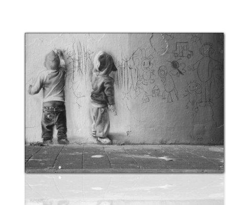 druck auf leinwand graffiti banksy bild 100x70x2cm k poster bild fertig auf keilrahmen. Black Bedroom Furniture Sets. Home Design Ideas
