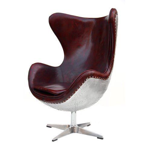 Echtleder Vintage Alu Sessel Ledersessel Design Lounge Egg