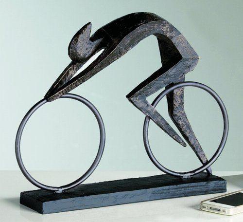 Edle-Skulptur-Racer-37-cm-Kunst-Art-Figur-Motorrad-0