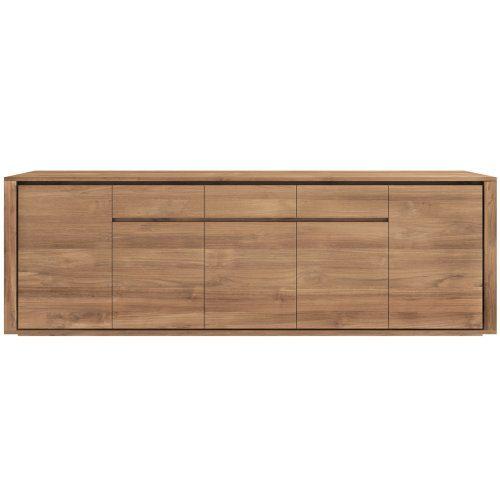 Ethnicraft-10326-ELEMENTAL-Sideboard-Teak-Kommode-257x45x85cm-5-Türen-3-Schubladen-0