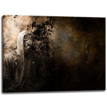 Gasmaske-Graffiti-Motiv-auf-Leinwand-im-Format-80x60-cm.-Hochwertiger-Kunstdruck-als-Wandbild.-Billiger-als-ein-Ölbild-ACHTUNG-KEIN-Poster-oder-Plakat-0