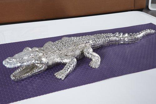 große skulptur crocodile krokodil figur 60cm silber für innen und, Wohnzimmer