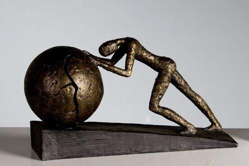 Große-dekorative-Skulptur-Heavy-Ball-broncefarben-Figur-0