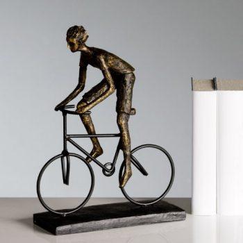 Große-dekorative-Skulptur-Radfahrer-broncefarben-Figur-0