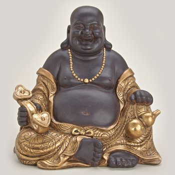happy buddha sitzend aus polystein braun und gold ca 30 cm gro statue figur m nch lachend. Black Bedroom Furniture Sets. Home Design Ideas