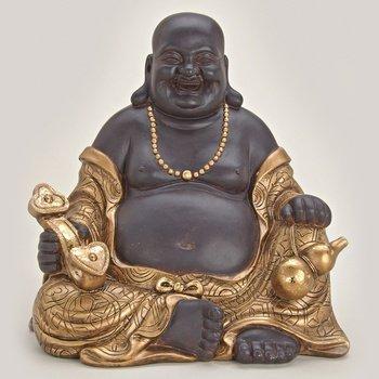 Happy Buddha Sitzend Aus Polystein Braun Und Gold Ca 30