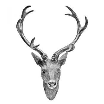 Hirschgeweih-Hirschkopf-Geweih-10-Ender-in-Silber-Metall-Optik-30-x-40-cm-Figur-Skulptur-Deko-0