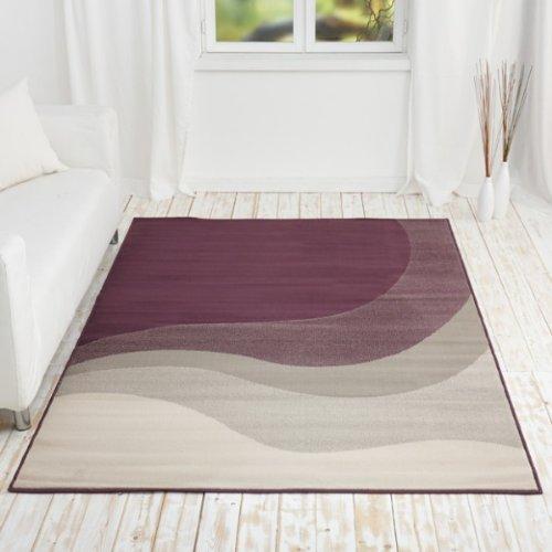kurzflor design teppich javier mit wellen muster gr e 160x230 farbe lila online kaufen bei woonio. Black Bedroom Furniture Sets. Home Design Ideas