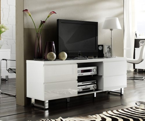 lowboard lucido 167x63 weiss hochglanz tv m bel 4 schubk sten online kaufen bei woonio. Black Bedroom Furniture Sets. Home Design Ideas