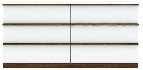 wohnzimmer nussbaum weiß:Anrichte – Wohnzimmerschrank aus MDF in Farbe Weiß Hochglanz/Nussbaum