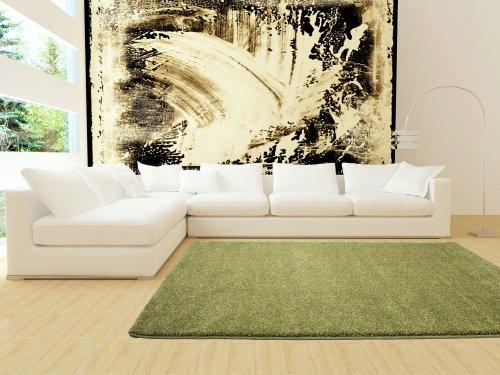 Bettwasche Grun Uni :  Moderner Teppich Orlando Uni Grün Green Meliert, Grösse120×170 cm