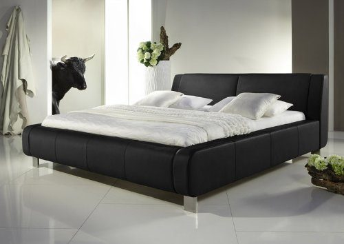 pharao24 lederbett schwarz polsterbetten echtleder moni. Black Bedroom Furniture Sets. Home Design Ideas