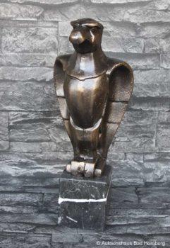 SKULPTUR-ADLER-AUF-MARMORSOCKEL-FIGUR-METALL-BRONZE-OPTIK-ART-DEKO-STIL-58kg-0