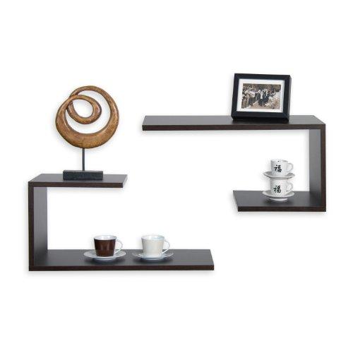 stilista 2 st ck designer wandregal spicciolo farbe schwarzbraun freischwebend wandboard. Black Bedroom Furniture Sets. Home Design Ideas