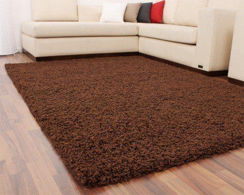 shaggy braun hochflor langflor teppich uni brown top preis. Black Bedroom Furniture Sets. Home Design Ideas