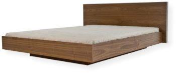 TemaHome-Float-Bett-180-x-200-cm-mit-Kopfteil-aus-Holz-ohne-Lattenrost-in-Nussbaum-Echtholzfurnier-0