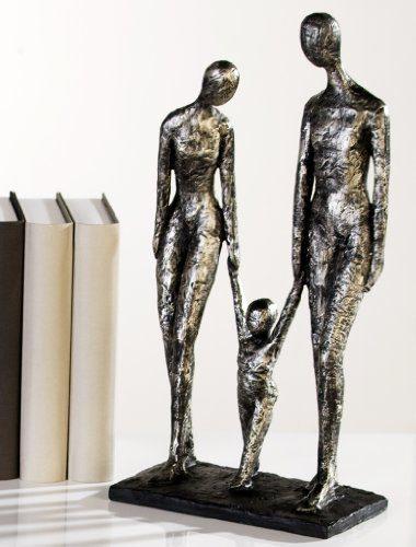 Tolle-Skulptur-Family-Casablanca-Familie-antik-silberfarben-zu-dritt-Mutter-Vater-Kind-0