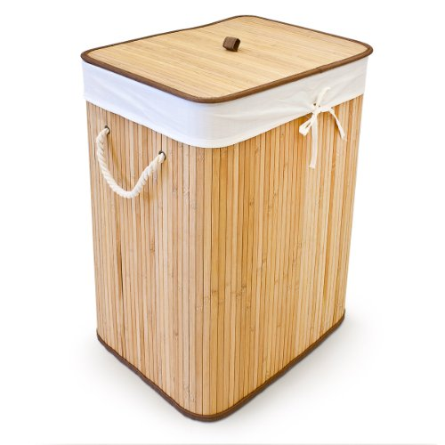 bamboo laundry bin box basket bag foldable w lining. Black Bedroom Furniture Sets. Home Design Ideas