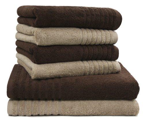6 tlg handtuch set duschtuch set sinlook gallant braun beige 2 badet cher duscht cher 70x140. Black Bedroom Furniture Sets. Home Design Ideas