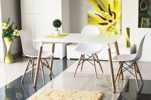 Design holztisch esstisch nolan 120x80 wei holzf e for Holztisch retro