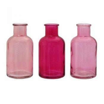 Glas-Vase-BOTTLE.-3-kleine-Flaschen-ca-55-x-106cm-in-ROSA-10-0
