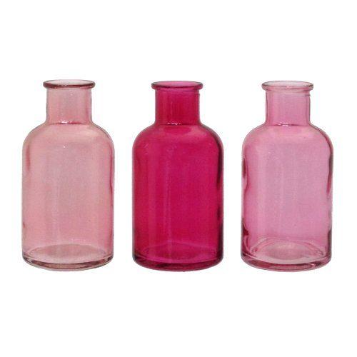 glas vase bottle 3 kleine flaschen ca 5 5 x 10 6cm in rosa 10 online kaufen bei woonio. Black Bedroom Furniture Sets. Home Design Ideas