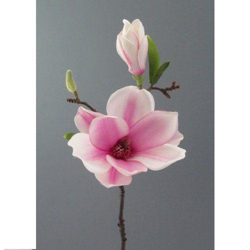 Kunstblume-Magnolie-37-cm.-Mit-Magnolienblüte-und-Knospe.-WEISS-LILA-42-0
