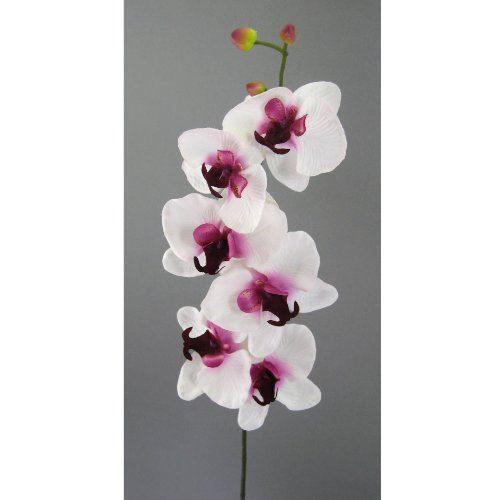 Kunstblume-Orchideenzweig-78cm.-Farbe-WEISS-LILA-42-0