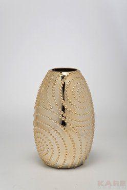Vase-aus-Steingut-in-Gold-Blumenvase-Tischvase-Bodenvase-0