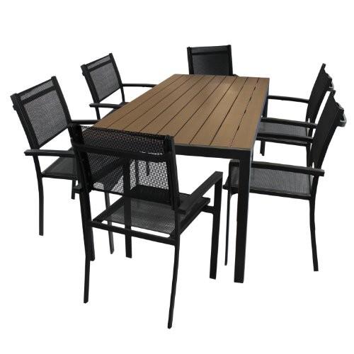 7tlg terrassengarnitur gartengarnitur gartenm bel aluminium polywood non wood gartentisch. Black Bedroom Furniture Sets. Home Design Ideas